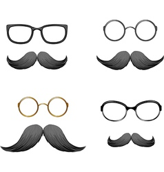 Goofy glasses and moustache set vector