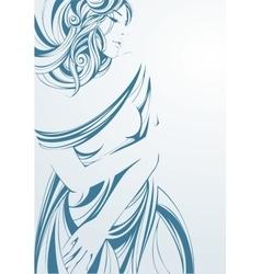 Graphic monochrome girl in blue vector