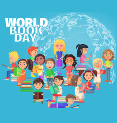 Group of reading schoolchildren on world book day vector