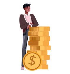 guy with stack of gold coins isolated icon young vector image