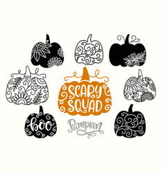 halloween thanksgiving pumpkins silhouettes vector image