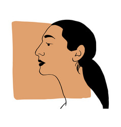 Hand draw outline portrait an latin woman vector