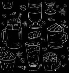 hand drawn different coffee pattern vector image
