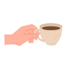 hand holding cup with tea or coffee vector image