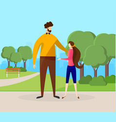 Happy father and daughter spending time in park vector