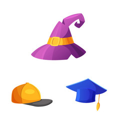 headgear and cap icon set vector image