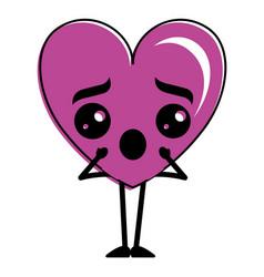 heart love confused kawaii character vector image