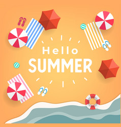 hello summer tropical beach top view banner vector image