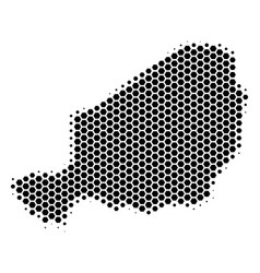 Hexagon halftone niger map vector