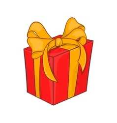 Holiday gift box icon cartoon style vector