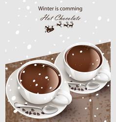 Hot chocolate cups realistic cinnamon vector