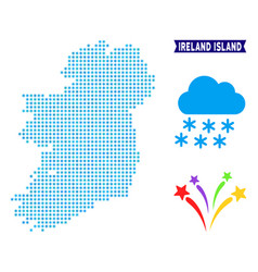 Icy ireland island map vector