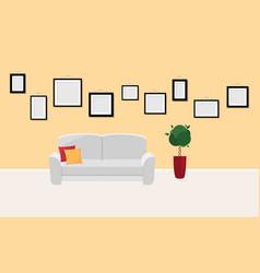 Interior template in gallery or photo exhibition vector