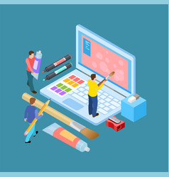 isometric digital artists concept vector image