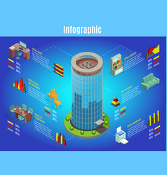 isometric office interior infographic template vector image