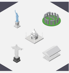 isometric travel set of rio india mosque athens vector image