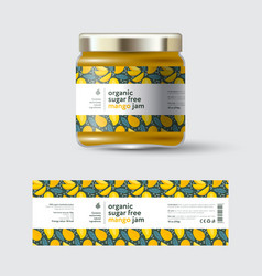 Jam mango label and packaging jar with cap vector