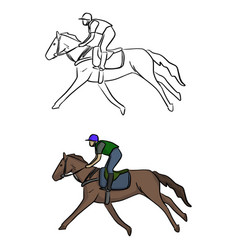 jockey on horse sketch doodle hand vector image