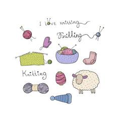 Knitting and crochet set lovely lamb tangles of vector
