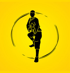 Kung fu action ready to fight front view vector