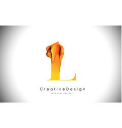 l orange letter design brush paint stroke gold vector image