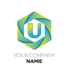 letter u logo symbol on colorful hexagonal vector image