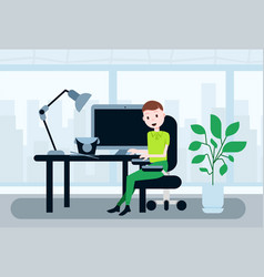man sitting office working desk lunch break asian vector image