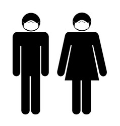 man woman with face mask stick figure icon black vector image