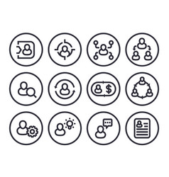 Management human resources hr line icons vector