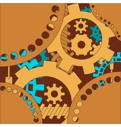 Mechanism background with cogwheels and gears vector