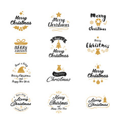 merry christmas and happy new year icon set vector image
