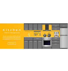 modern kitchen room interior banner for your web vector image