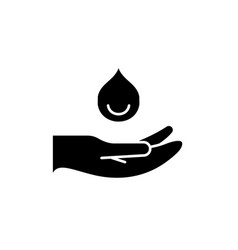 Moisturizing hands black icon sign on vector