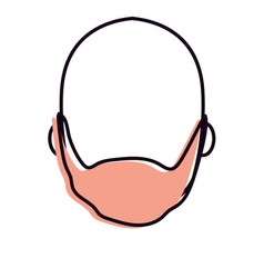Nice man face with beard and bald vector