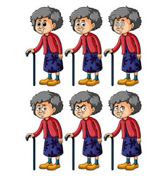 old woman with different emotions vector image