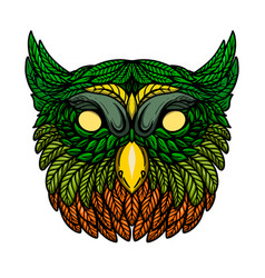 owl head in floral style design element for vector image