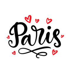 paris calligraphy modern city brush lettering vector image
