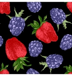 pattern with strawberries and blackberries vector image