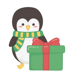 penguin with gift decoration merry christmas vector image