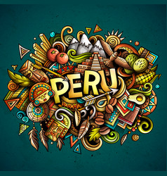 Peru hand drawn cartoon doodles vector