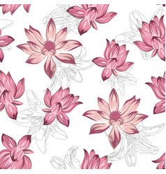 pink lotus seamless white background vector image