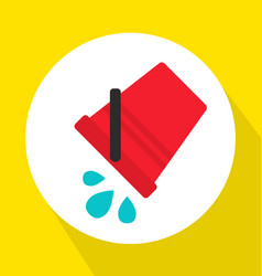 Pouring water from red bucket flat vector