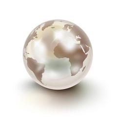 Precious earth like a white pearl over white vector