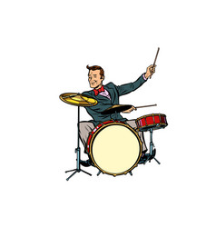 Retro drummer behind the kit vector
