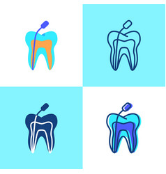 Root canal treatment icon set in flat and line vector