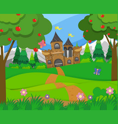 Scene with castle towers and hills vector
