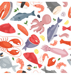 seafood restaurant seamless pattern vector image