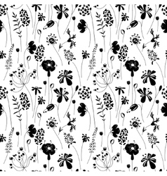 Seamless pattern with stylized herbs and plants vector image