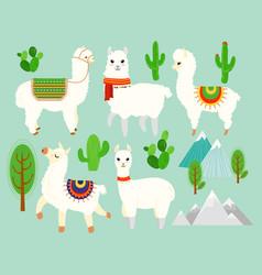 set cute funny alpacas and vector image