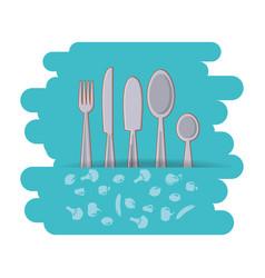 set cutlery tools icon vector image